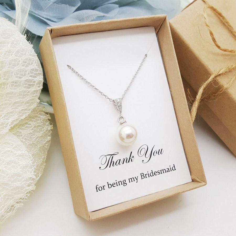 Mariage - Elegant Pearl dangle Bridesmaid Necklace,Bridesmaid Necklace Gift,