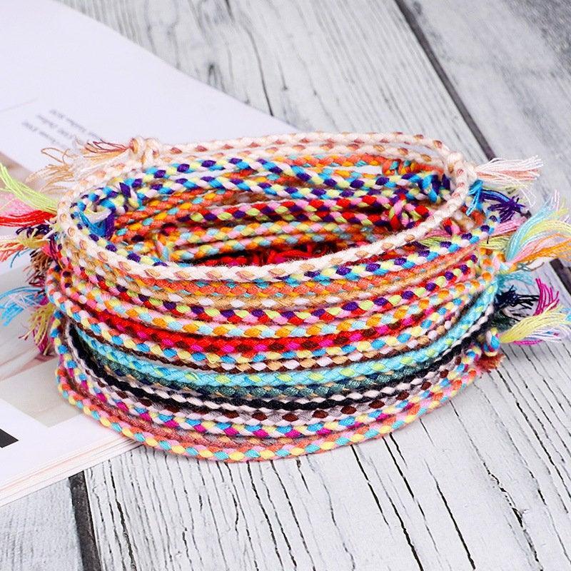 Mariage - 2 pcs Lucky Tibetan String Bracelets & Bangles for Women Men Handmade Tassel Knots Thread Rope Bracelet Ethnic Jewelry