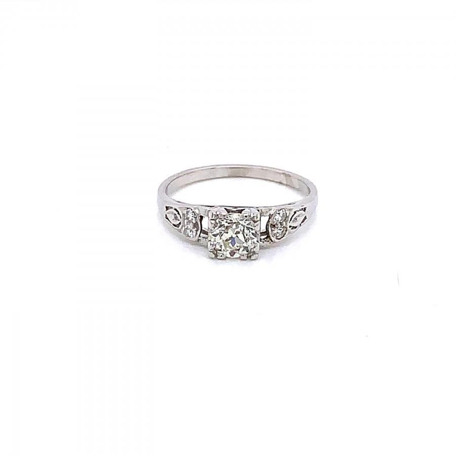 Mariage - Vintage 1930s platinum Art Deco diamond engagement ring .54ct