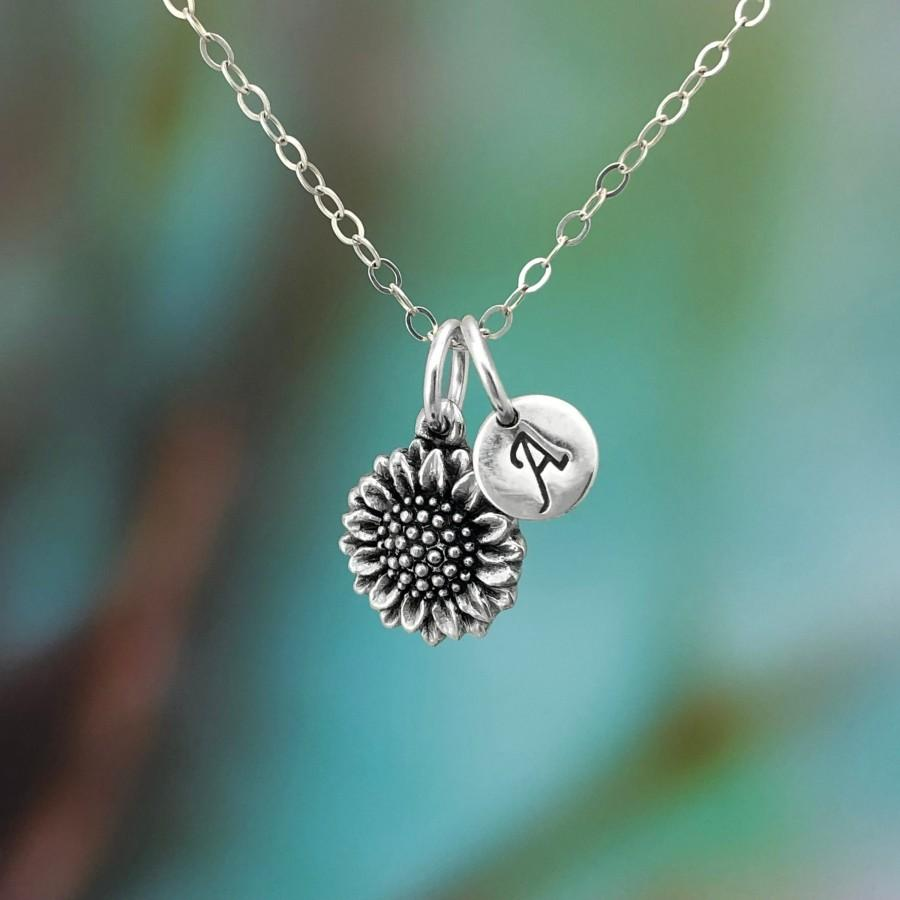 Mariage - Sunflower Necklace, 925 Sterling Silver Necklace, Personalised Necklace, Hope and Joy Necklace, Sunflower Jewelry, Minimalist Jewellery