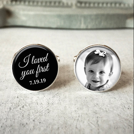 Mariage - Father of the bride cufflinks, personalized wedding cuff links, I loved you first, wedding keepsake gift for dads
