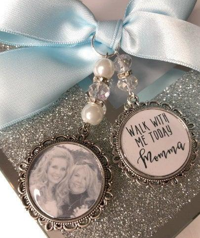 Mariage - Memory memorial heaven charm bridal bouquet, walk with me today dad mum poem & photo pearl beads something blue.Swarovski.bride.wedding