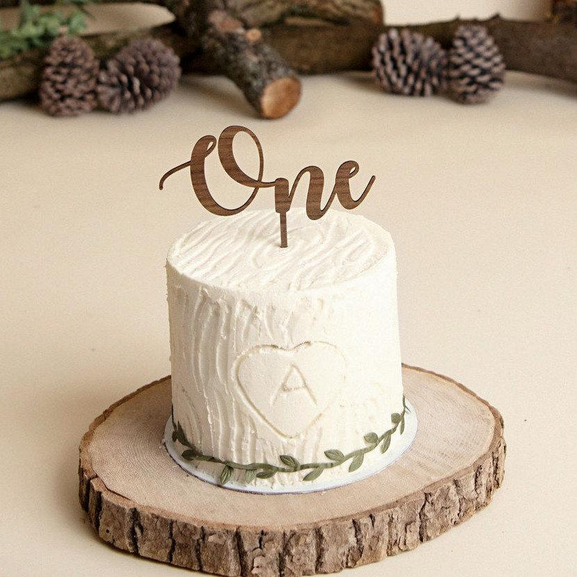 """Wedding - Wooden """"Age"""" Cake Topper - Birthday / 1st / 2nd / One / Two / Three Party Decoration"""