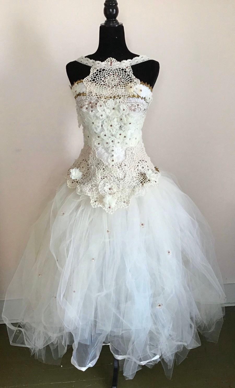 Mariage - Whimsical Bohemian Wedding Dress, Princess Wedding Dress, Garden Wedding Dress, repurposed , sustainable. Eco friendly fashion.