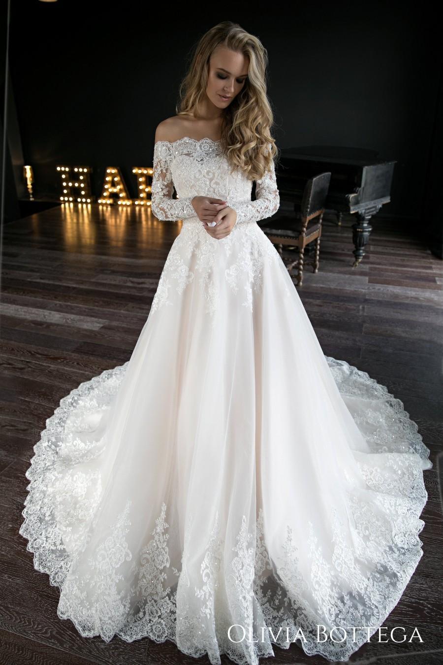 Wedding - A line wedding dress Olivia by Olivia Bottega. Wedding dress off the shoulder