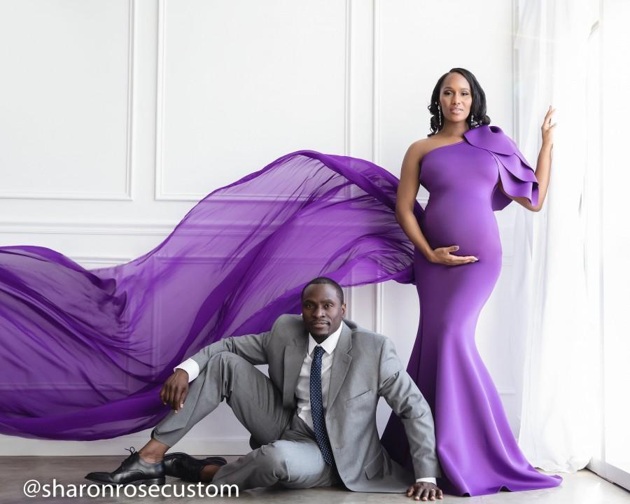 Wedding - Maternity Dress for Photo Shoot Maternity Dress for Baby Shower Purple Gown