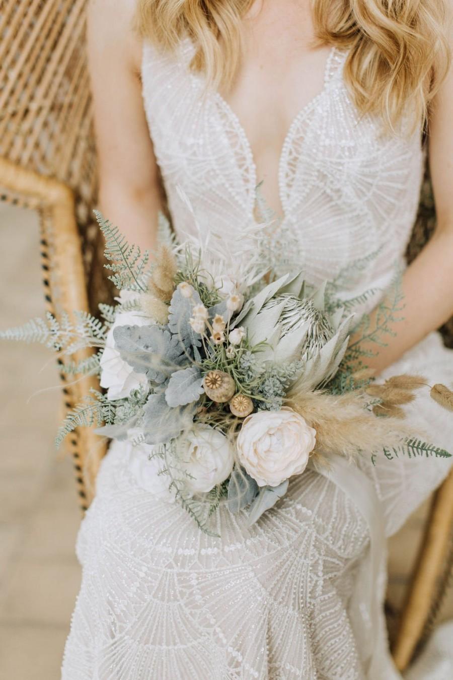 Wedding - Foliage bouquet, greenery bouquet, rustic flowers, protea bouquet, keepsake bouquet, forest wedding, woodland wedding
