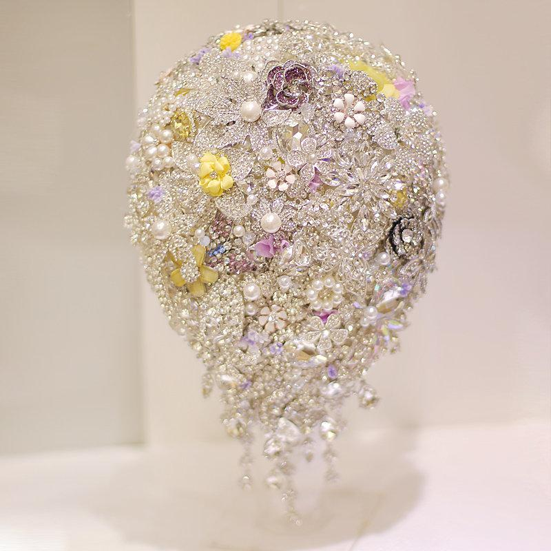 Wedding - 8 inch luxury rhinestone pearl teardrop bouquet water drop bouquet Purple & yellow wedding,DIY bride bouquet, Bridal bouquet brooch bouquet