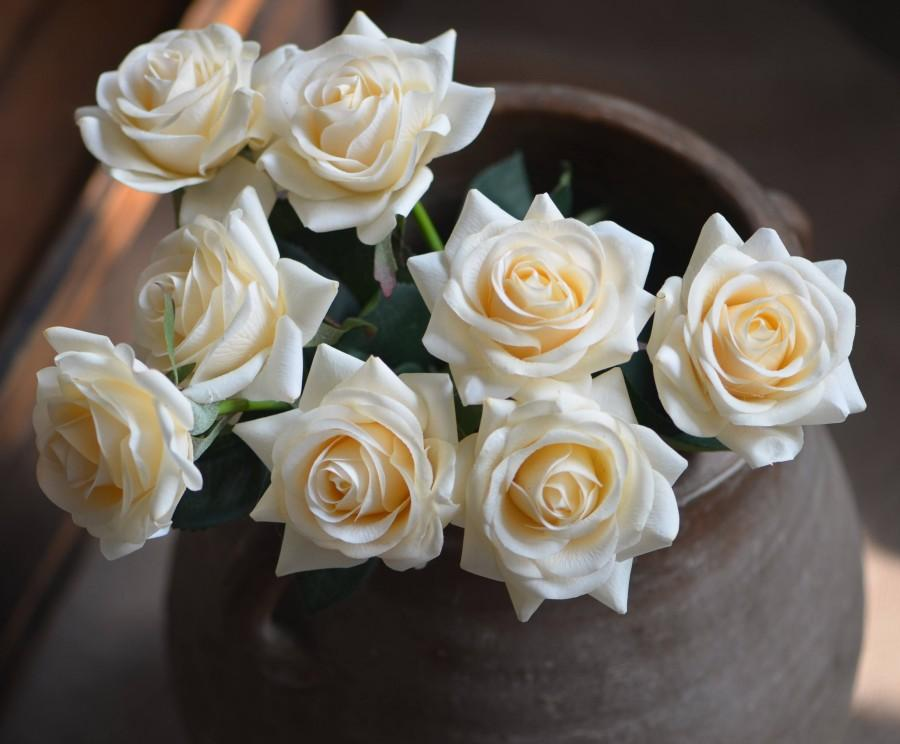 Wedding - Pale Champagne Roses Real Touch Flowers DIY Wedding Flowers Silk Bridal Bouquets Wedding Centerpieces