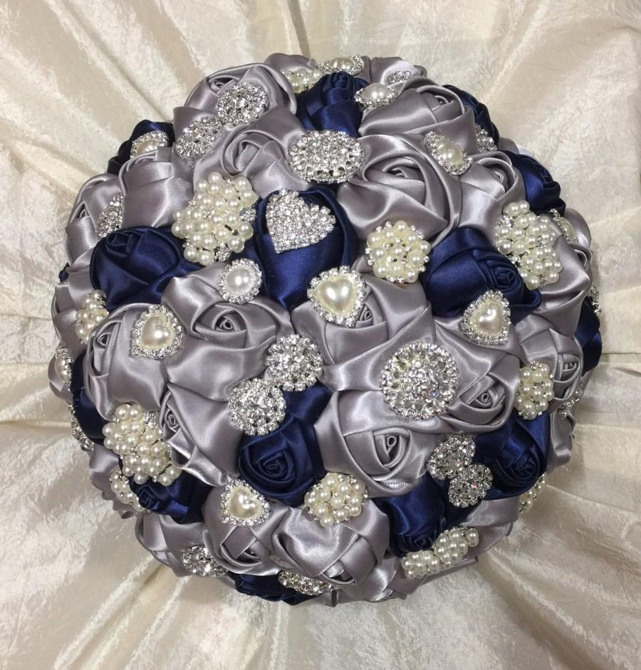 Wedding - Stunning 1 Only New Large Bespoke Design Navy Blue And Silver Satin Roses Jeweled Diamante and Pearl Brooches Brides Bridal Wedding Bouquet