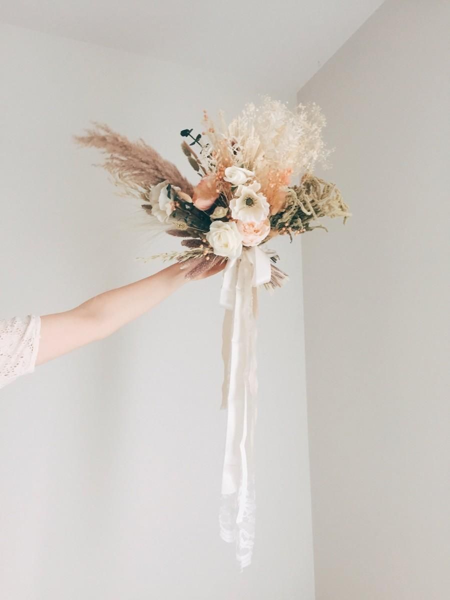 Pampas Grass And Greenery Bouquet Silk Wedding Flower Bouquet With Dried Flowers 2970456 Weddbook
