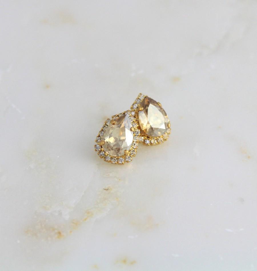 Свадьба - Crystal Bridal earrings Bridal jewelry Swarovski Stud Wedding earrings Bridesmaid earrings Swarovski clip on earrings Crystal earrings