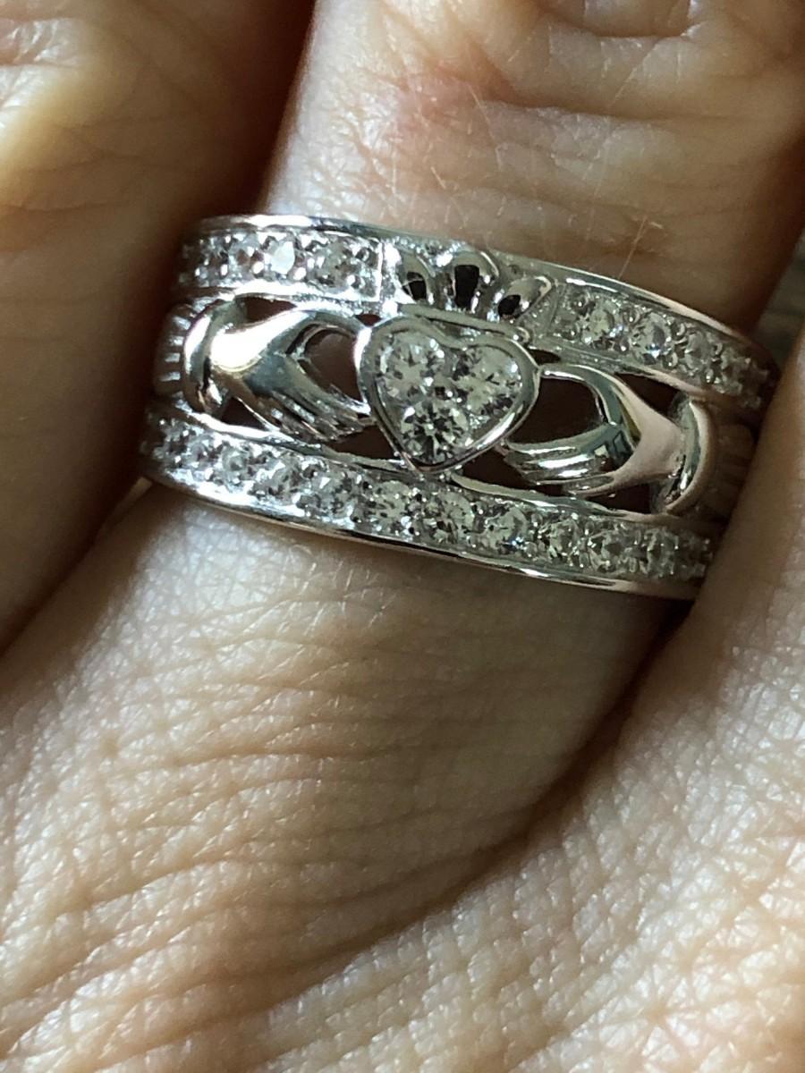 Wedding - Sterling Silver Irish Heart Claddaugh Wedding Band