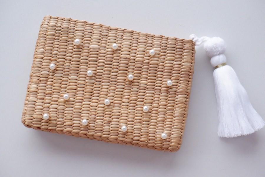 Wedding - woven handbag   Woven Clutch personalized gifts  clutchbag Tassel Clutch  Bridesmaid Clutch