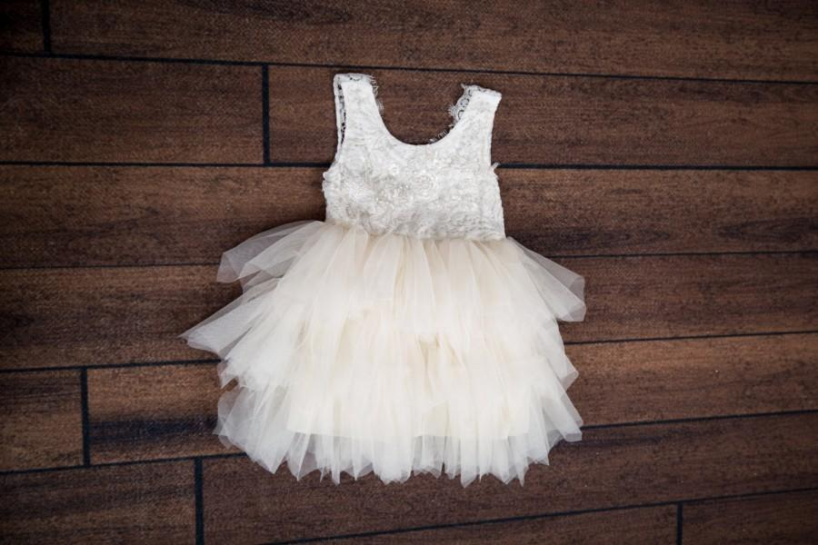 Wedding - White Lace Infant Flower Girl Dress, Toddler Tulle Wedding Gown, Princess Dress, Boho Beach Wedding