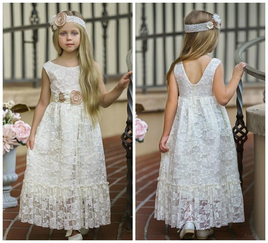 Wedding - SALE Ivory flower girl dress, girl lace dress, country flower girl, Rustic flower girl dress,Bohemian Flower girl dress,Flower girl dresses