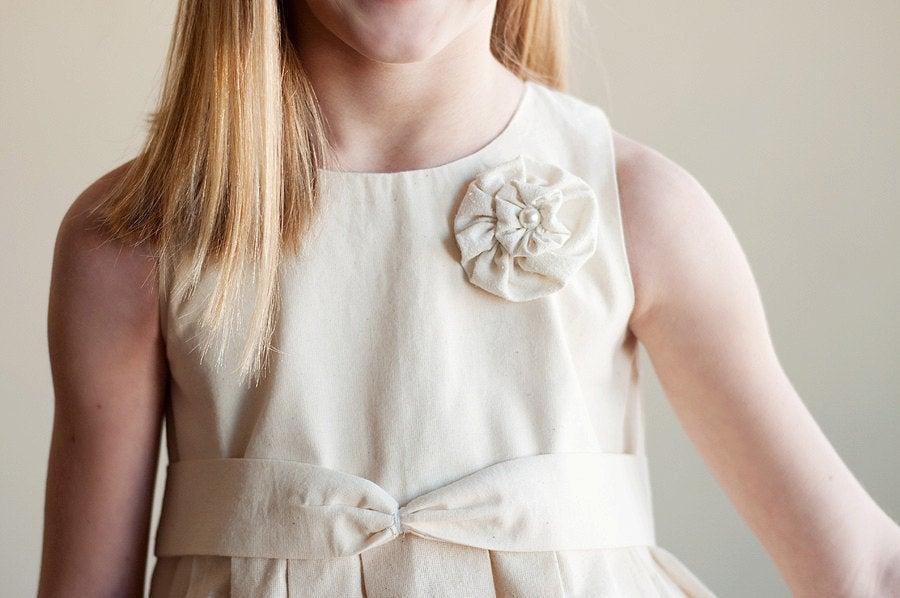 Wedding - The Rosette Rustic Dress: Flower Girl Dress Cotton Satin Silk