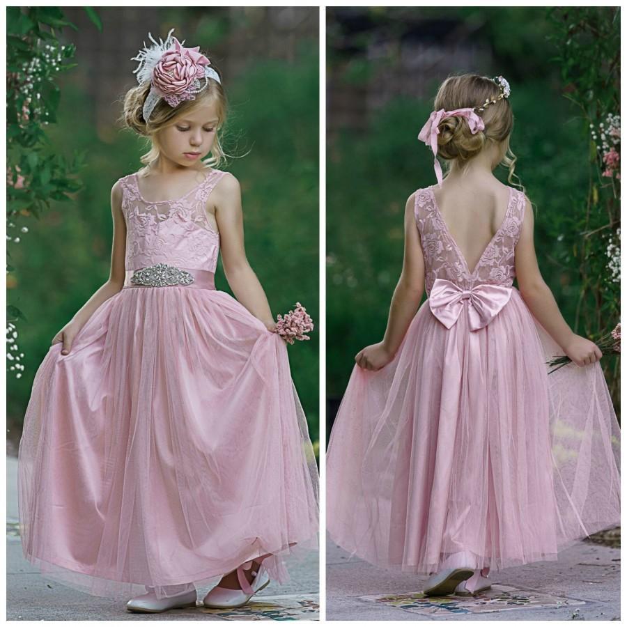 Mariage - SALE Dusty Rose Flower girl Dress, Flower Girl dresses, Girls Dresses, Tulle Flower Girl Dress, Beach flower Girl, Junior Bridesmaid