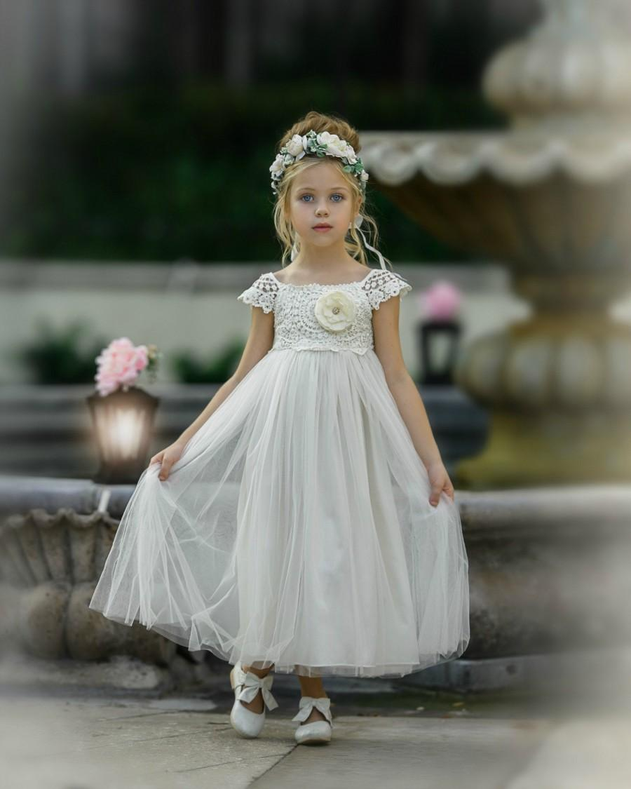 Wedding - Flower Girl Dress, Flower girl dresses, Ivory lace dress, lace baby dress, country flower girl, rustic flower girl, communion dress