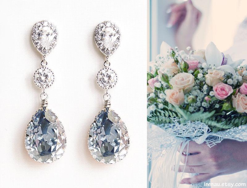 Mariage - Dusty blue bridal earrings, Light blue teardrop crystal earrings, Dusty blue wedding jewelry Swarovski CZ zirconia posts dangle earrings