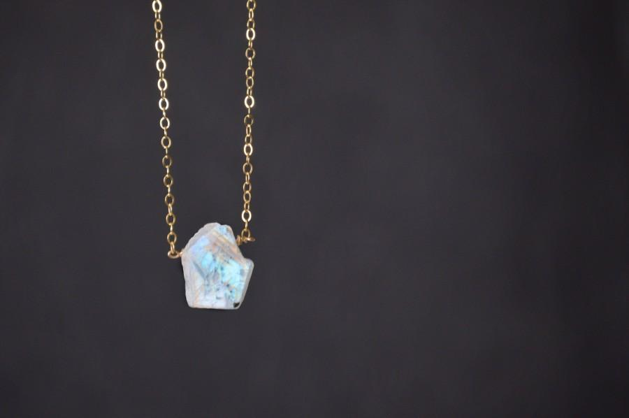 Mariage - Moonstone,Raw Moonstone Necklace in 14K Gold Filled,Personalized Gift