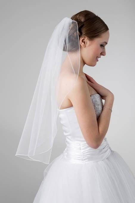Mariage - Ribbon Edge,Cathedral Veil , Fingertip Wedding Veil ,Bridal Veil, Ivory Veil, White Veil ,Floor Length Veil, Single Tier Veil,