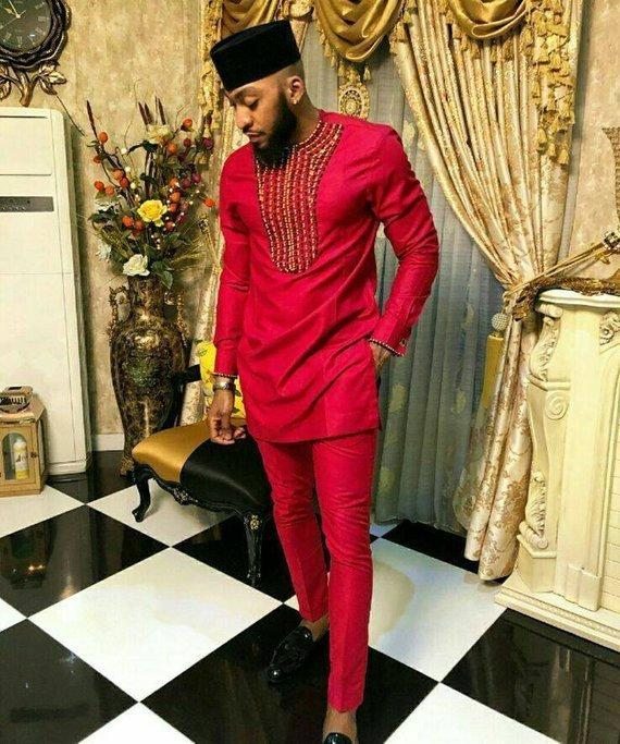 Wedding - African men's clothing, wedding suit, dashiki, African men's shirt, vêtement africain, chemise et pantalon, African men's attire, prom shirt