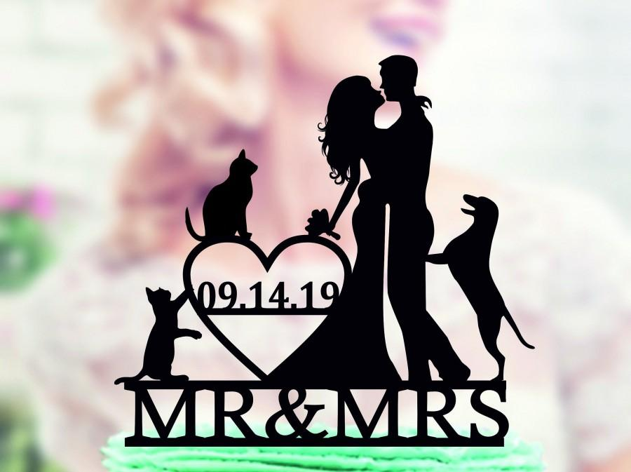 Mariage - Wedding cake topper with dog and cat, Wedding Cake Topper dog, Couple silhouette cake topper, unique topper, Cake Topper with date, unique