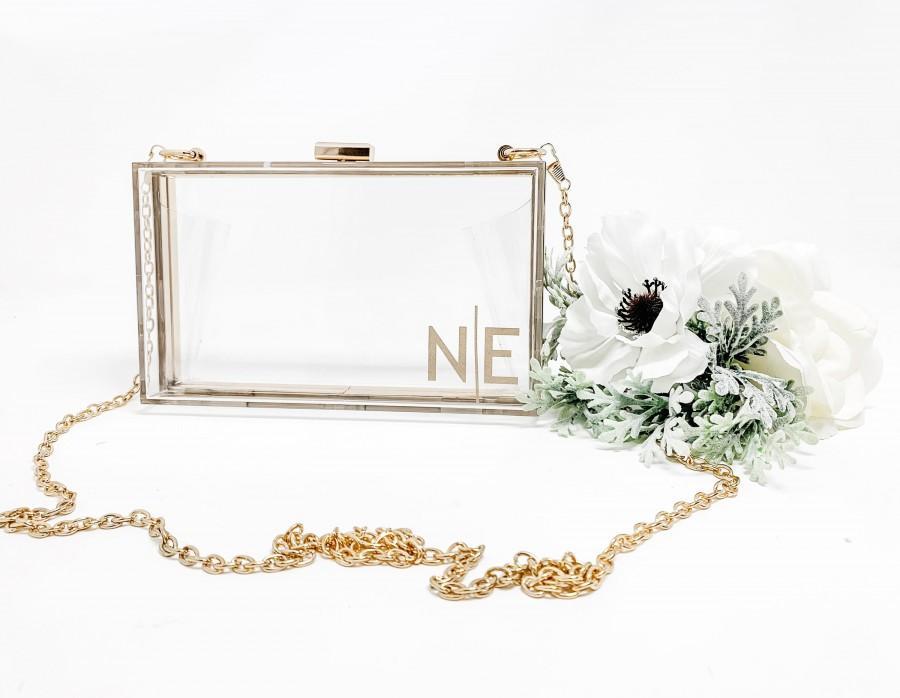 Свадьба - Monogram Purse - Bridal Purse - Bridesmaid Clutch - Mrs. Purse - Bride Purse for Wedding - Clear Purse