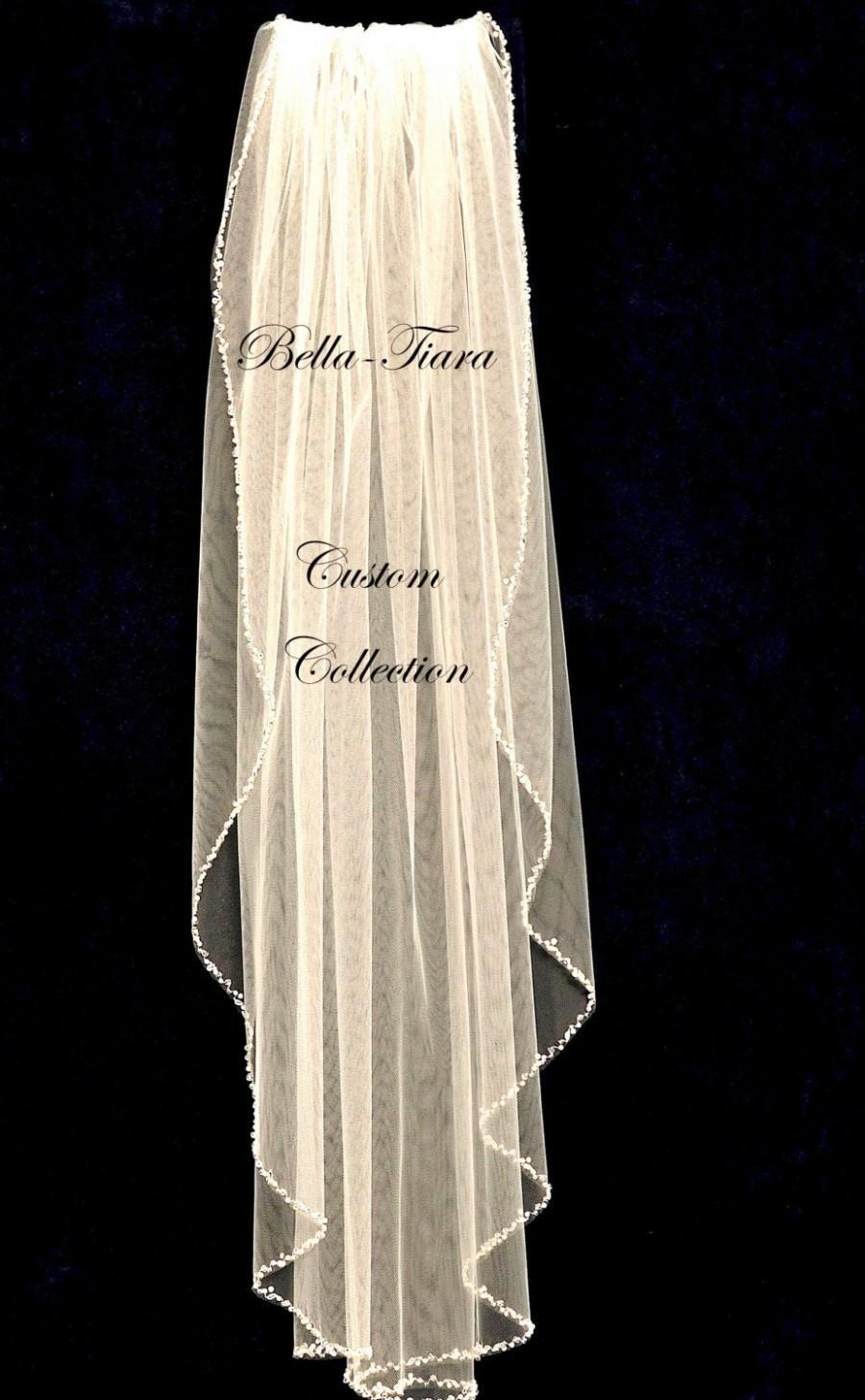 Mariage - crystal wedding veil, champagne wedding veil, beaded edge wedding veil, crystal veil, cathedral ivory wedding veil, veil with crystals