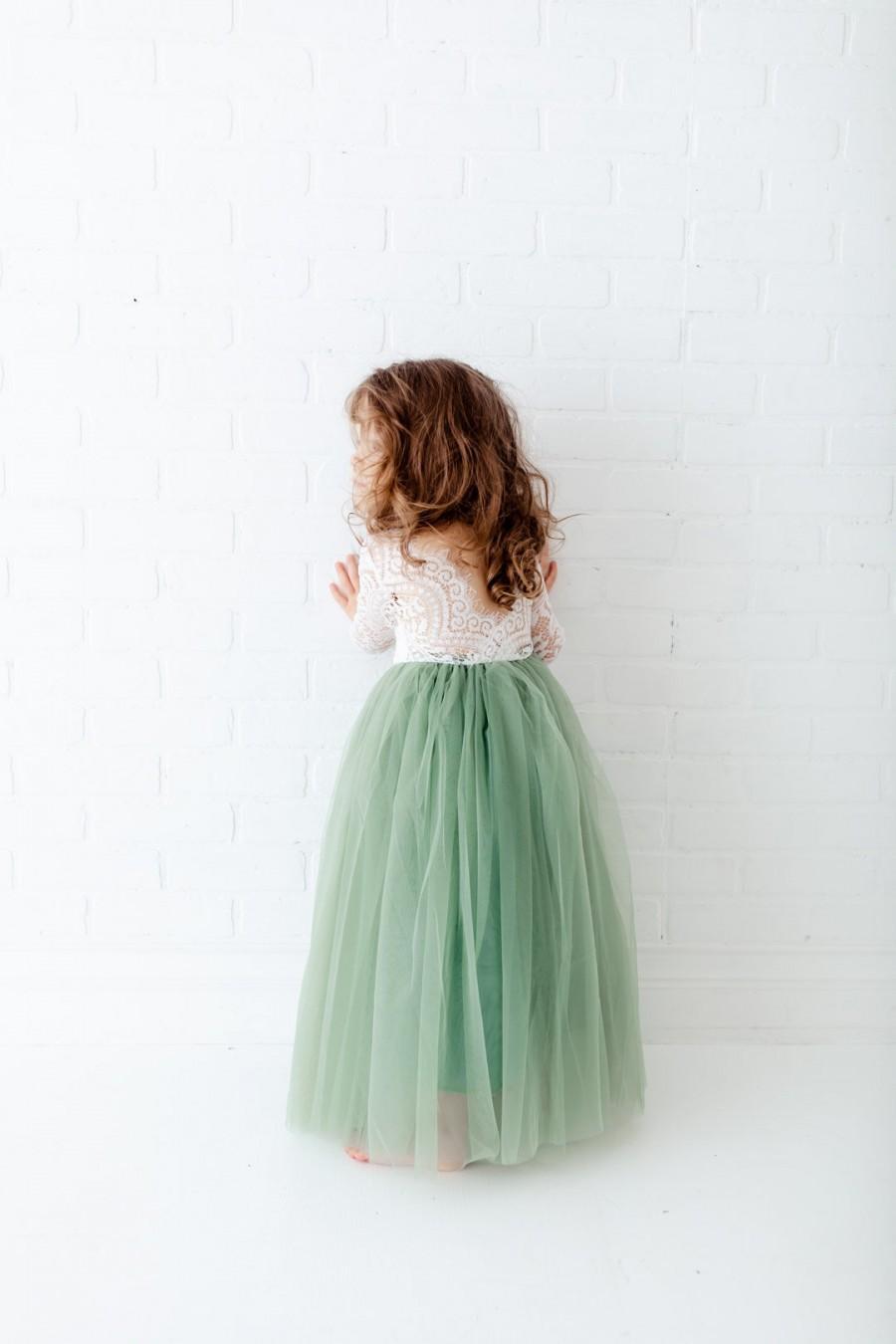 Wedding - Dusty Sage Long Sleeve Wedding Gown, White Lace Flower Girl Dress, Floor Length Mint Green Tulle Dress