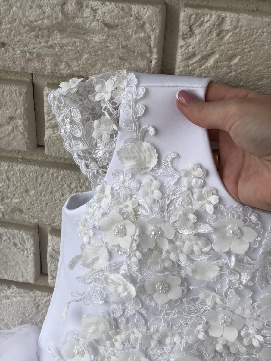Wedding - White First Communion Dress Flower Girl Dress White Tutu Skirt-Birthday Wedding Party Holiday Bridesmaid Flower Girl White Tulle Lace Dress