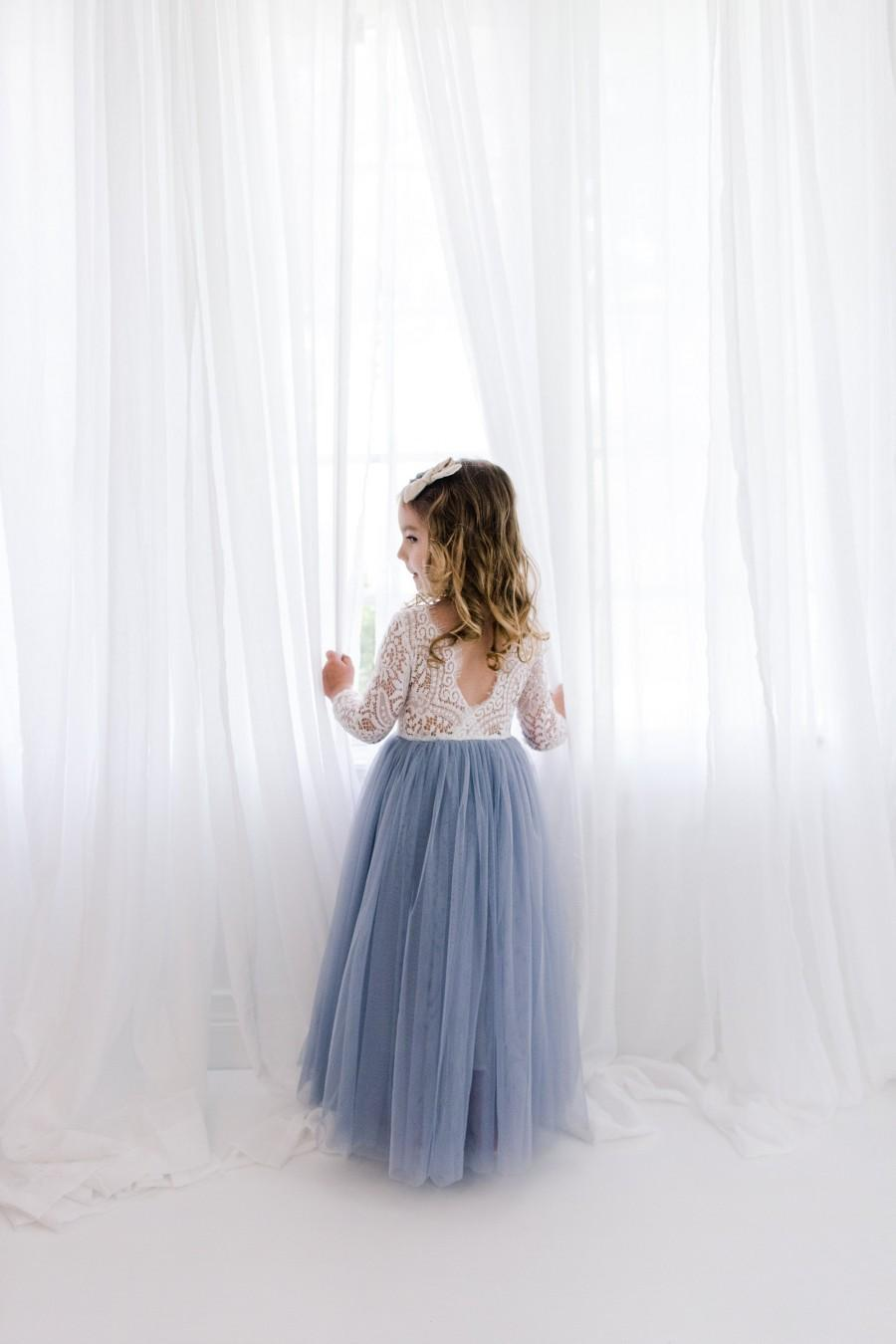 Wedding - Dusty Blue Gray Tulle Long Sleeve Wedding dress, White Lace Flower Girl Dress, Smoke Blue Floor Length Ball Gown