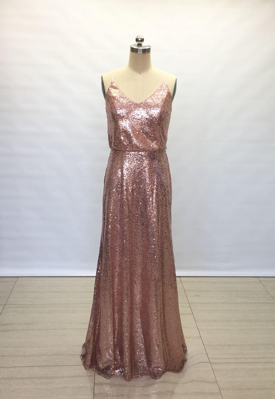 Wedding - Sheath Spaghetti Straps Rose Gold Sequin Long Bridesmaid Dress