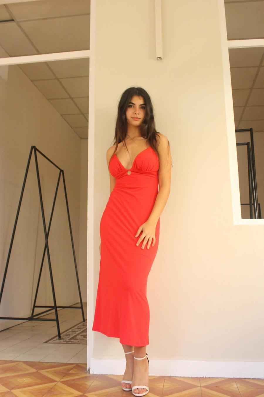 Wedding - Red Woman Dress, Midi Dress, Knee Length Dress, Party Dress, Prom Dress, Backless Dress, Evening Dress, Gown, Bridesmaid Dress, Custom Made