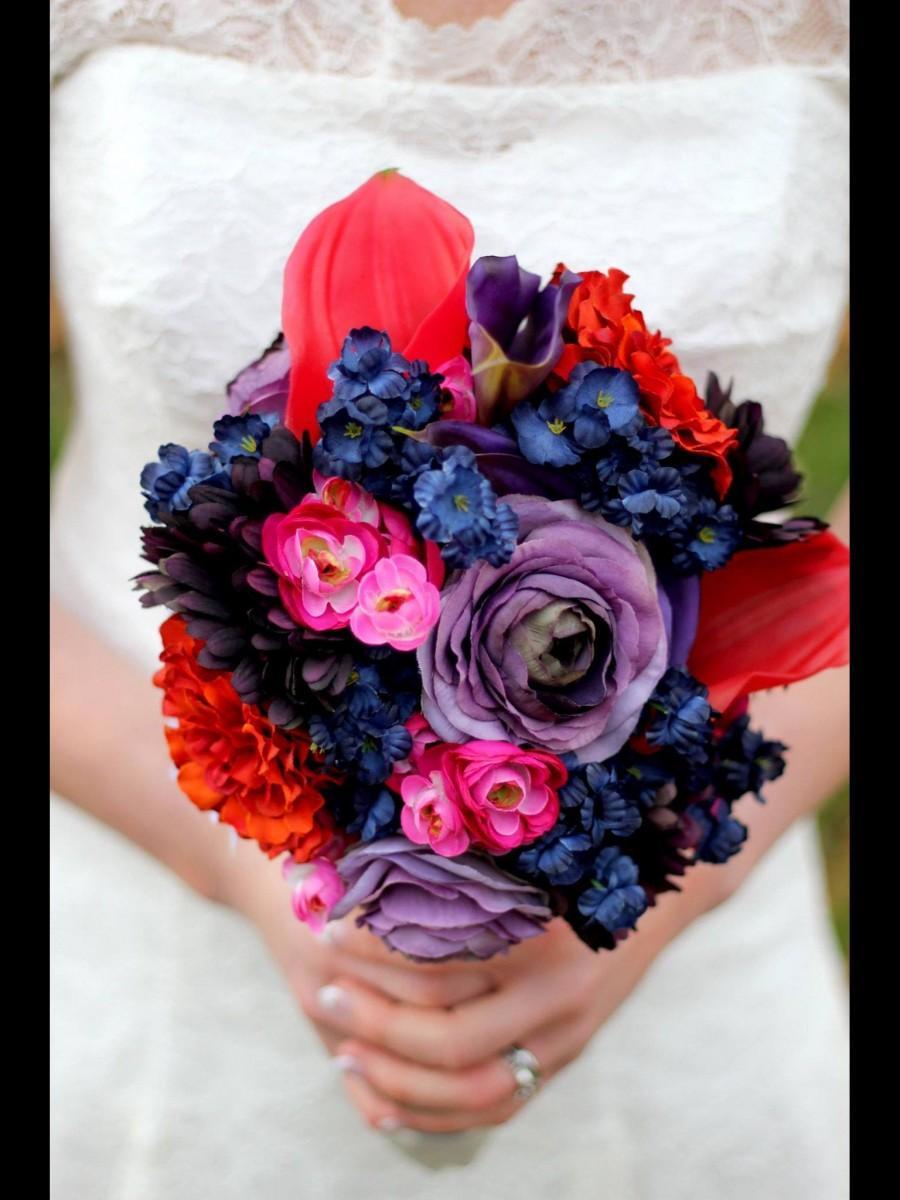 Свадьба - Bridal Bouquet- navy, tangerine, purple, pink
