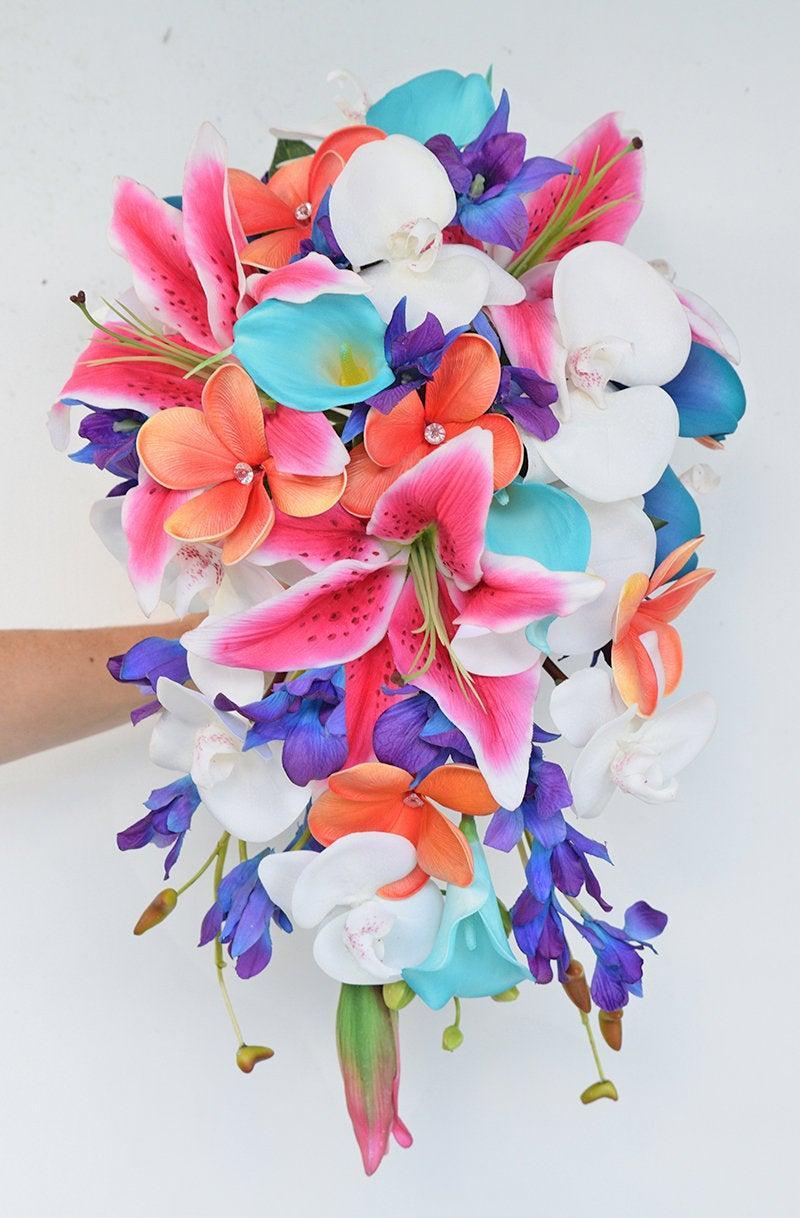 Свадьба - Tropical Bouquet, Cascade Bouquet, Stargazer Boquuet, Plumeria Bouquet, Coral Bouquet, Pink Bouquet, Beach Wedding Bouquet, Real Touch