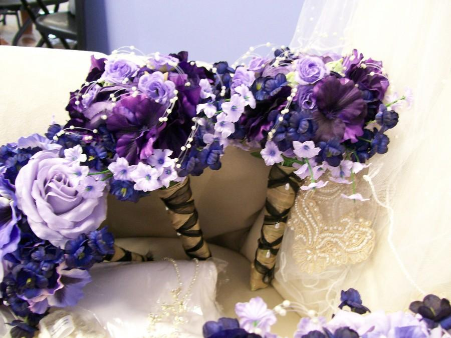 Mariage - Bridesmaid Bouquet- purple, lavendar, pearl