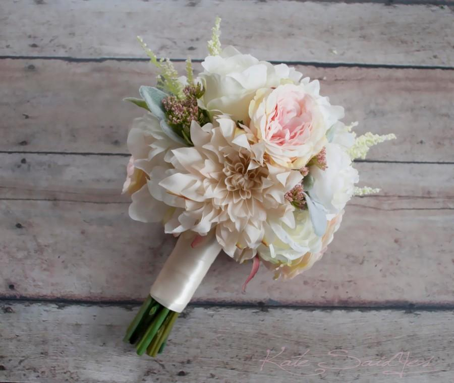 Mariage - Blush Pink and Ivory Garden Rose Dahlia and Peony Wedding Bouquet - Bridesmaids Bouquet
