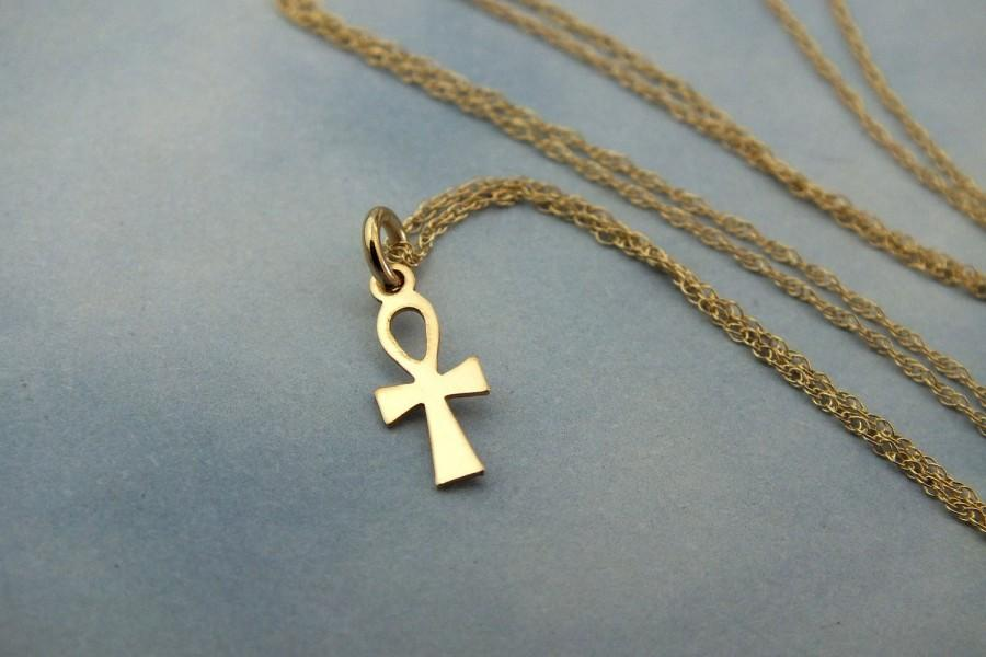 Hochzeit - Small Gold Cross Necklace, Ankh Christian Cross Necklace, Small Solid Gold Cross Necklace, Solid 14k Gold Cross Necklace, Religious Jewelry