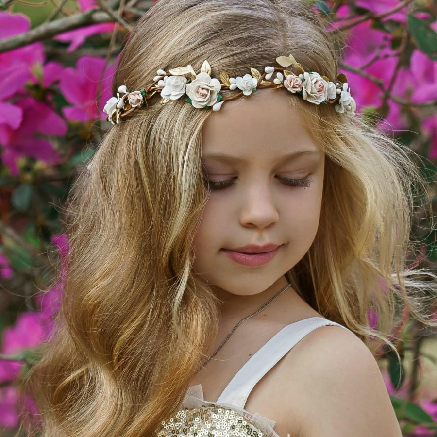 Wedding - Ivory Flower Crown, Flower Girl Headband, Girls Floral Crown, Flower Halo, Flower Headpiece, Boho Wedding, Floral Headband, Flower Wreath