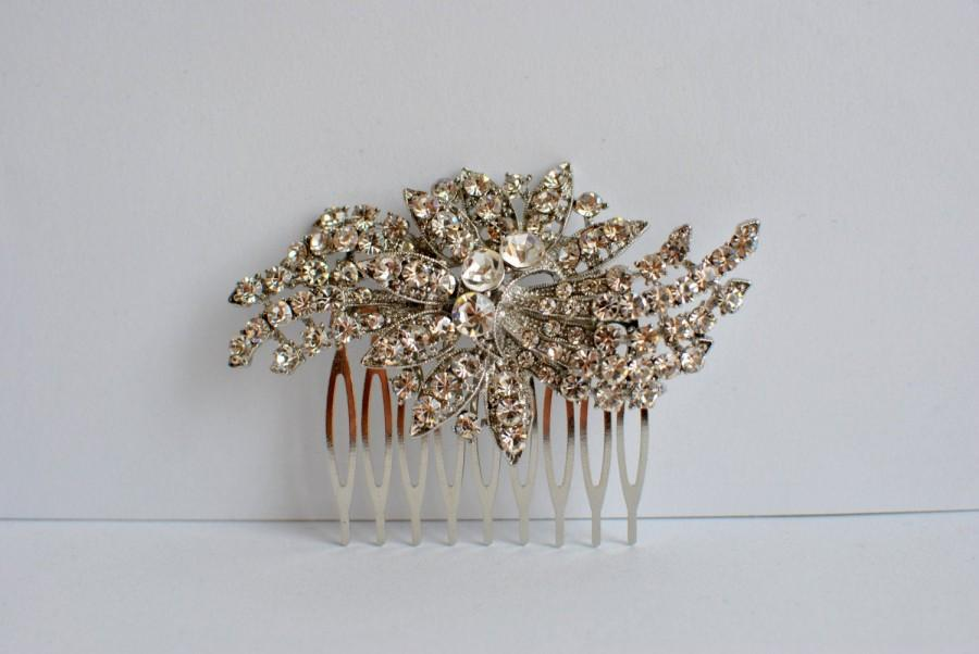 Wedding - Silver Crystal Bridal Art Deco Hair Comb, Downton Abbey, Great Gatsby, Vintage Inspired Hairpiece, Bridal Hair Accessory, Crystal Headpiece