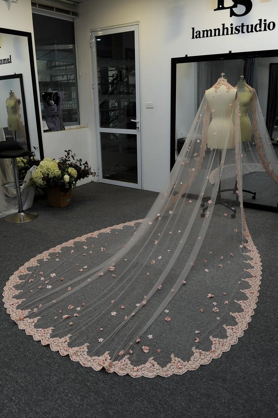 Mariage - Ls53/Bridal cape veil/Mantilla veil /blush pink flower cape veil/ lace veil// lace cape/custom cape/ cathedral veil