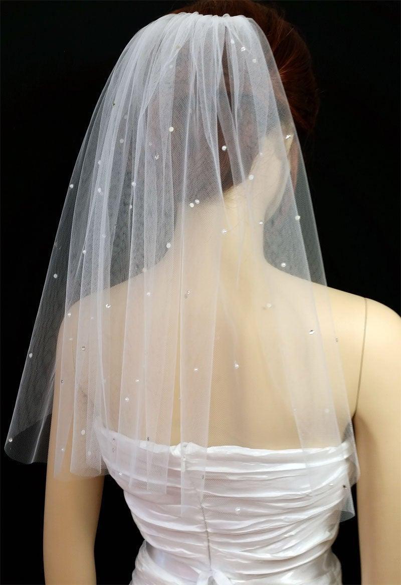 "Mariage - 1 Layer 18""X54"" White or Ivory Veil/Veils Wedding/ Scattered Swarovski Rhinestone & Pearl"