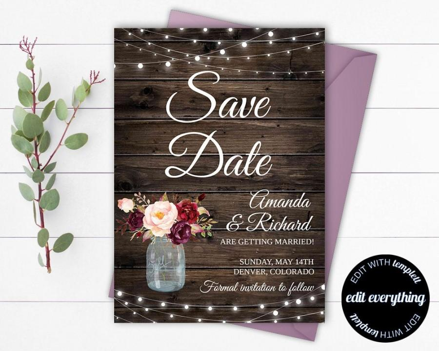 Wedding - Rustic Save the Date Wedding Template - Country Save the Date Card - Southern Save the Date Invite - Printable Save Date - Save Our Date