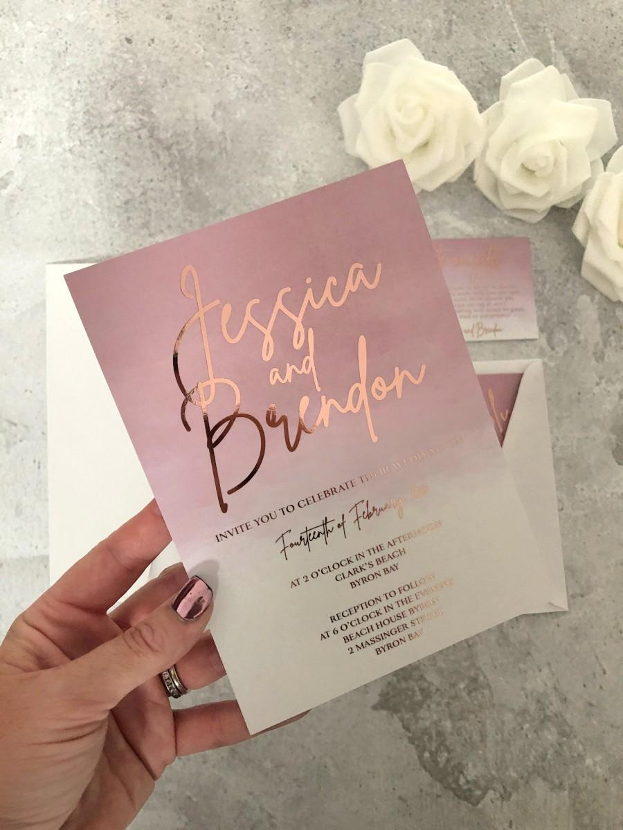 Wedding - Rose Gold Foil Wedding Invitation in Blush Pink Dusty Pink Watercolor, Sample Engagement, Printed Invitation, Christening Watercolour