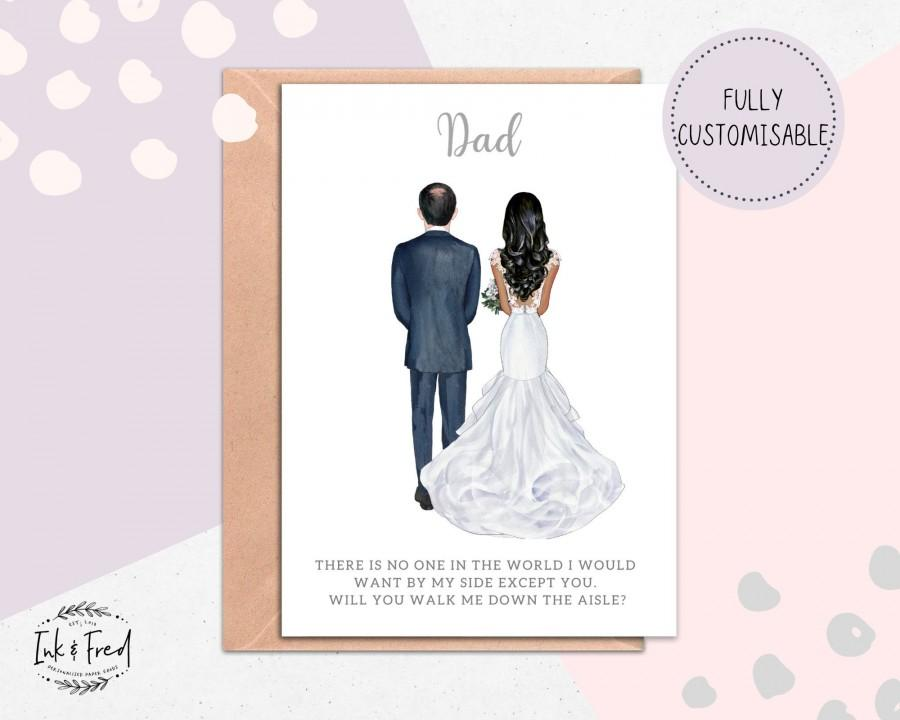 Wedding - Will You Walk Me Down the Aisle, Dad Wedding Card, Step Dad Wedding Card, Wedding Proposal Card, Dad & Daughter Wedding Card, Daddy #074