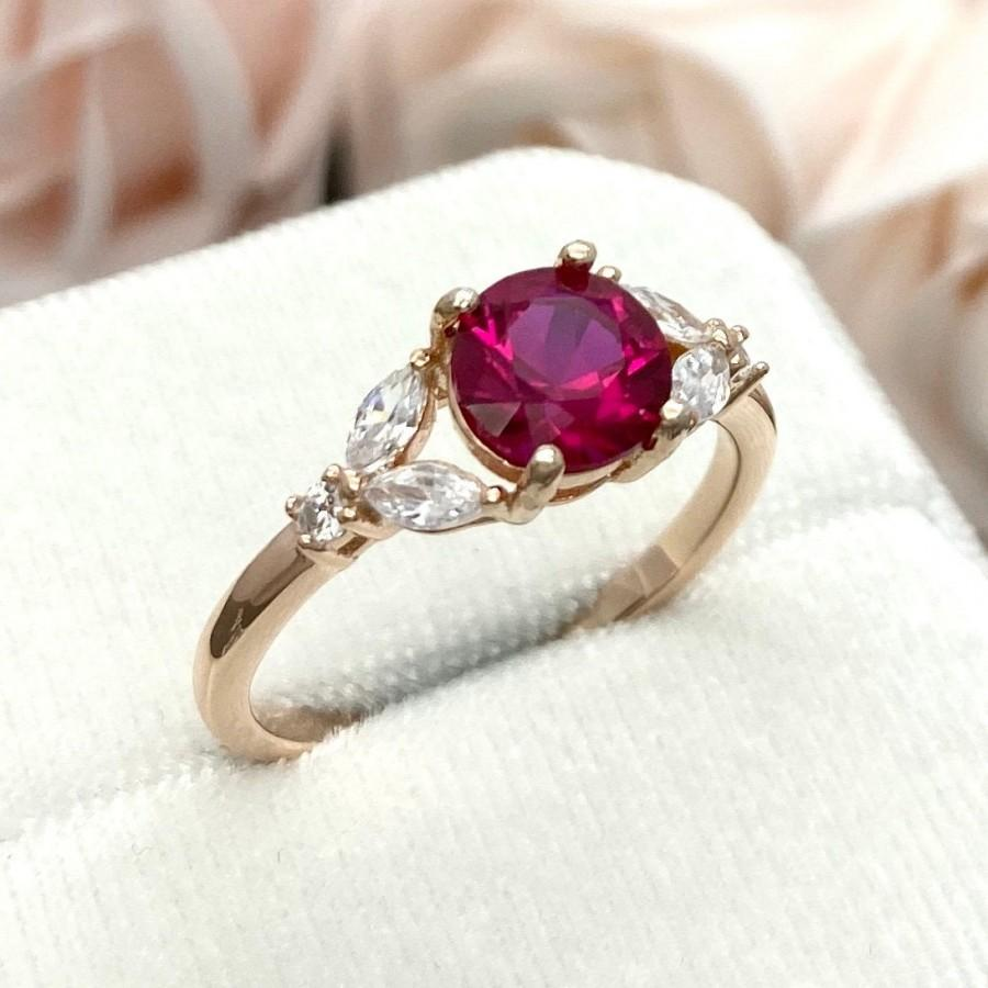 Mariage - Rose Gold Round Lab Ruby Ring Marquise And Round Simulated Diamond Leaf Ring Art Deco Sterling Silver Promise Engagement Wedding