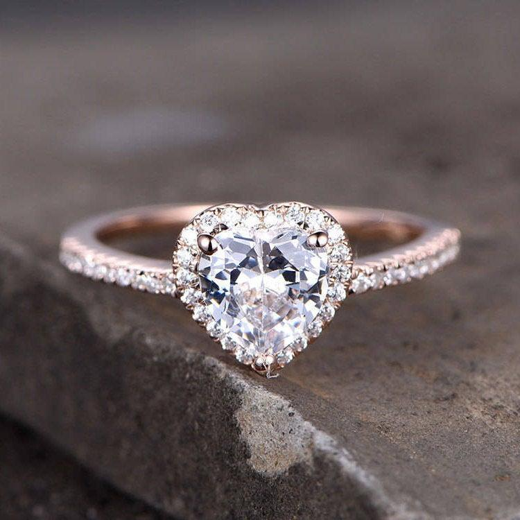 Свадьба - Sterling silver ring/Heart shaped Cubic Zirconia engagement ring/CZ wedding ring/promise ring/Xmas gift/Can custom design gems/halo ring