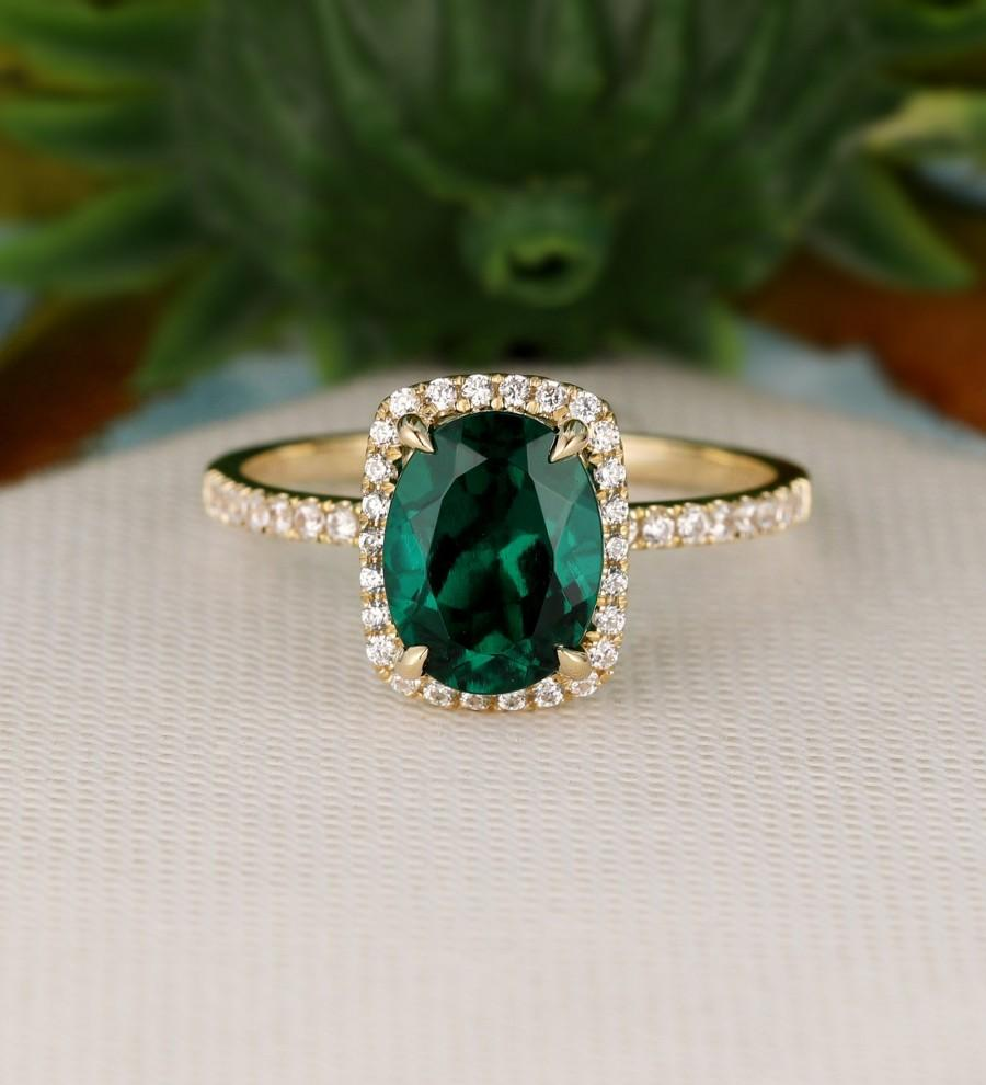 Mariage - Engagement Ring, Halo 7x9mm Oval Cut Lab Created Emerald Ring, Wedding Ring, Solid 14k Rose Gold Ring, Simulated Diamond Ring, Gemstone Ring